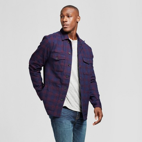 Men's Big & Tall Standard Fit Shirt Jacket - Goodfellow & Co™ Burgundy/Navy Plaid - image 1 of 3