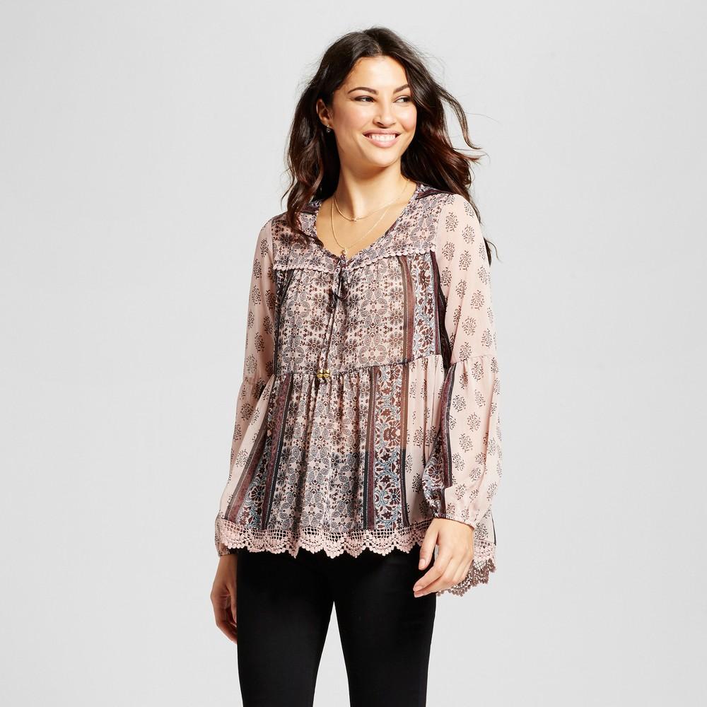 Womens Crochet Hem Sheer Print Top - Knox Rose XL, Multicolored
