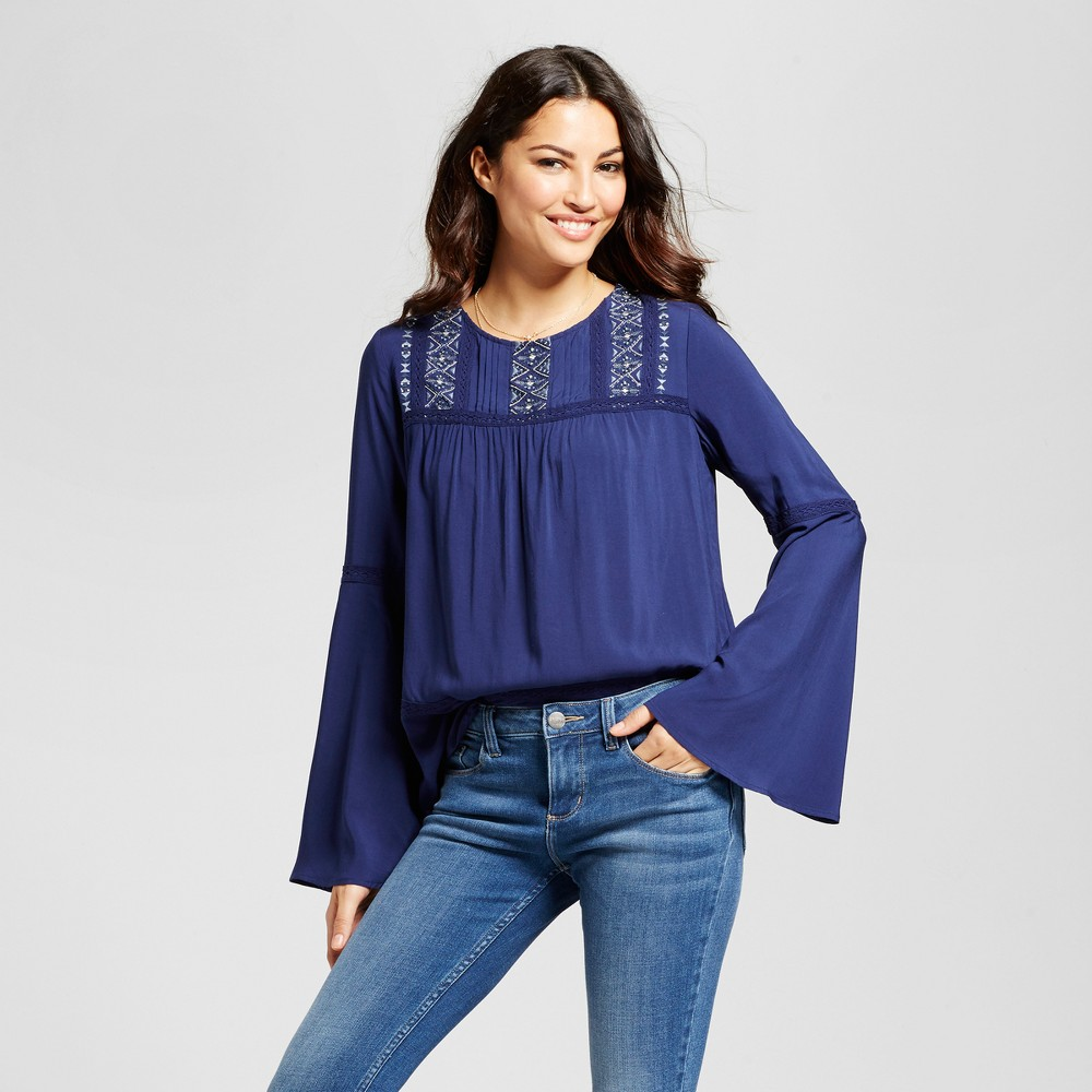 Womens Embroidered Lurex Top - Knox Rose Navy XS, Blue