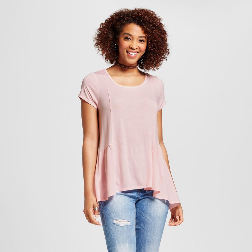 Womens Peplum Woven to Knit Short Sleeve Top - Grayson Threads (Juniors) Pink M