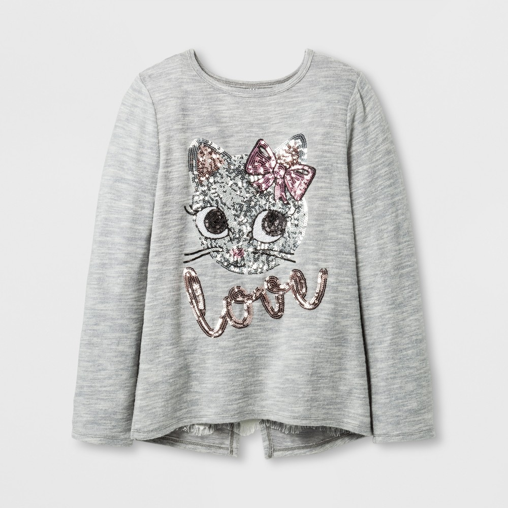 Girls Miss Chievous Sequin love Cat Face Top - Gray - XS