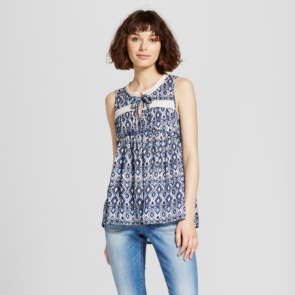 Womens Printed Babydoll Sleeveless Top - Grayson Threads (Juniors) Blue L