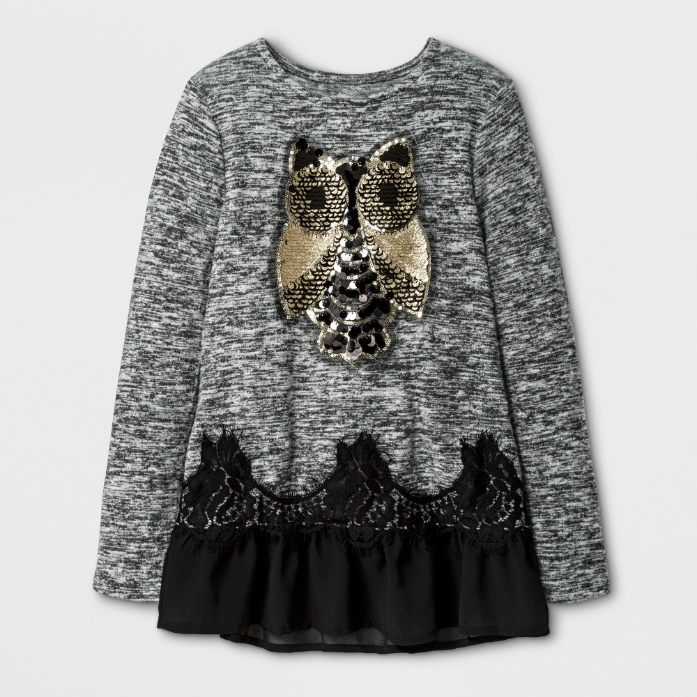 Girls Miss Chievous Long Sleeve Top with Golden Owl & Black Mesh - Black - S