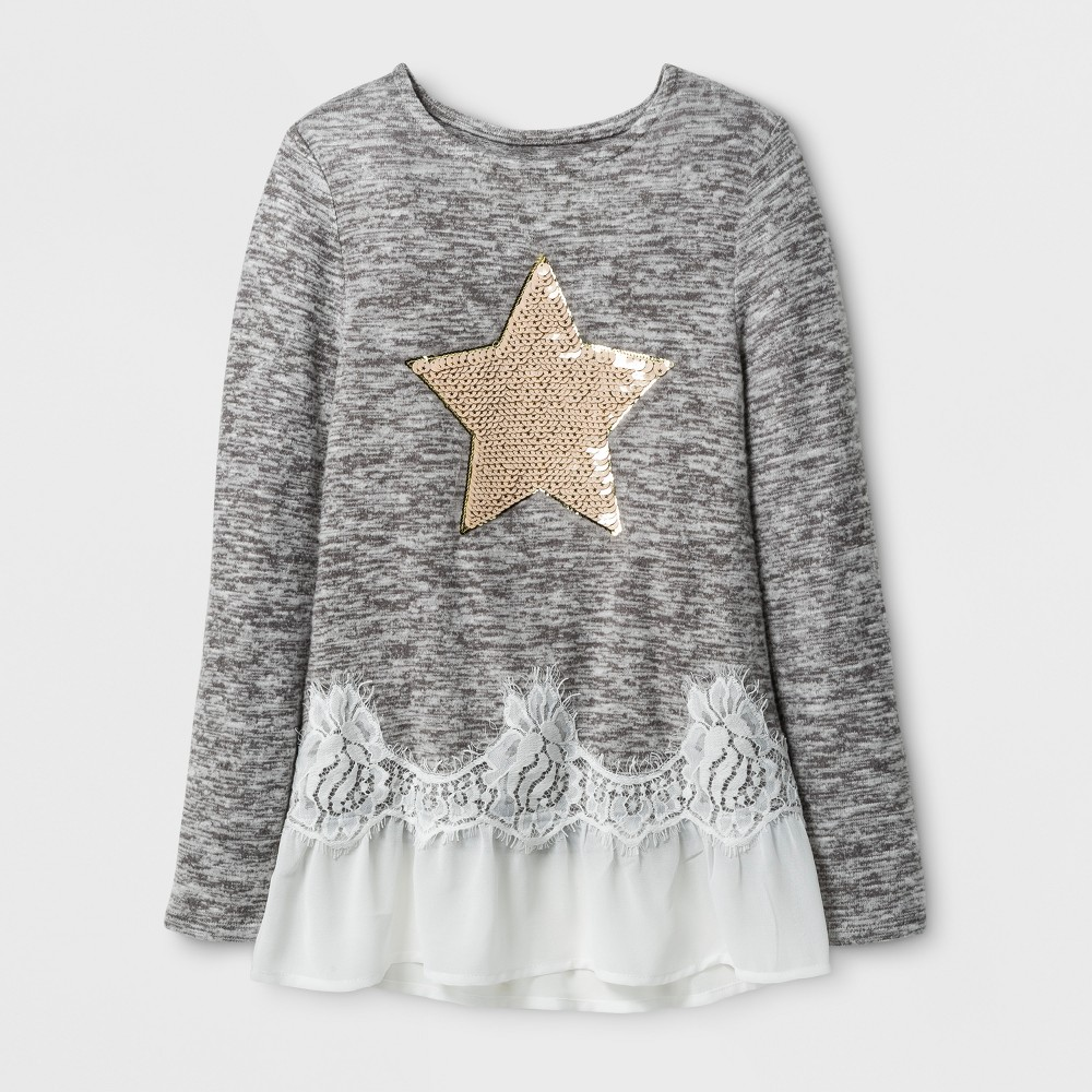 Girls Miss Chievous Long Sleeve Top w/ Sequin Star & Natural Mesh XL, Multicolored