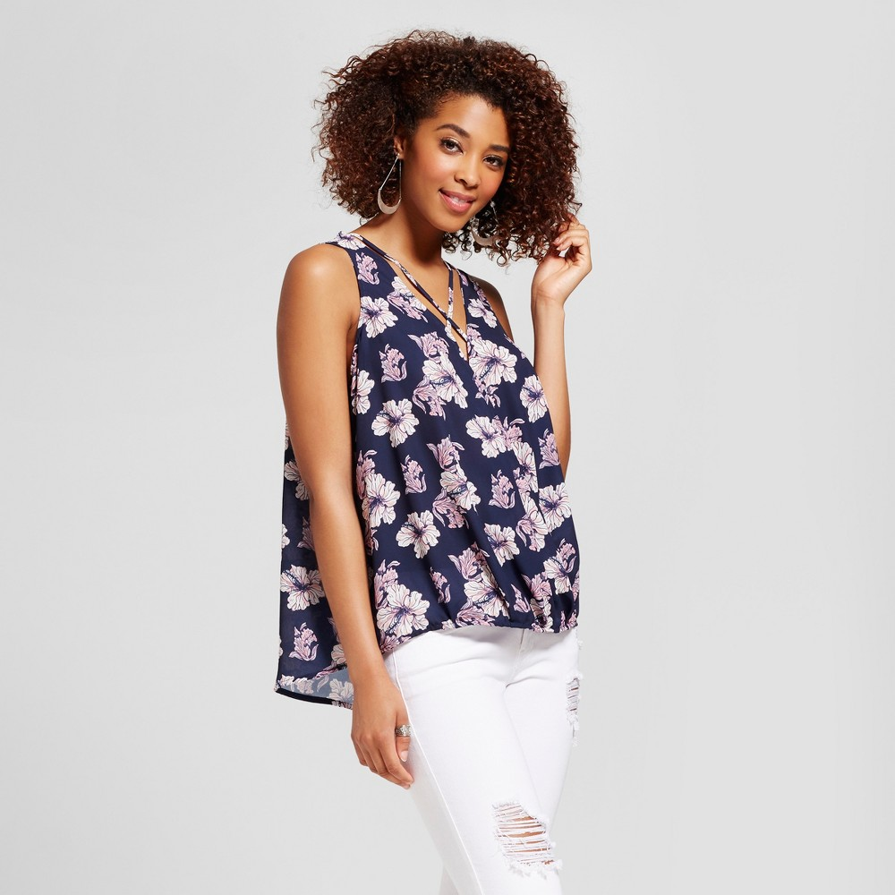 Womens Floral Strappy Surplice Top - Grayson Threads (Juniors) Blue S