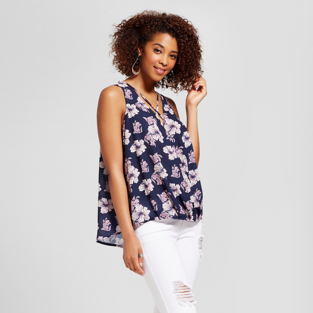 Womens Floral Strappy Surplice Top - Grayson Threads (Juniors) Blue M