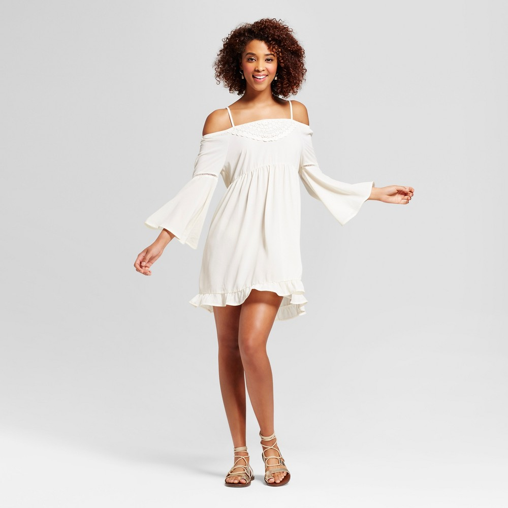 Womens Crochet Cold Shoulder Bell Sleeve Dress - Grayson Threads (Juniors) White S