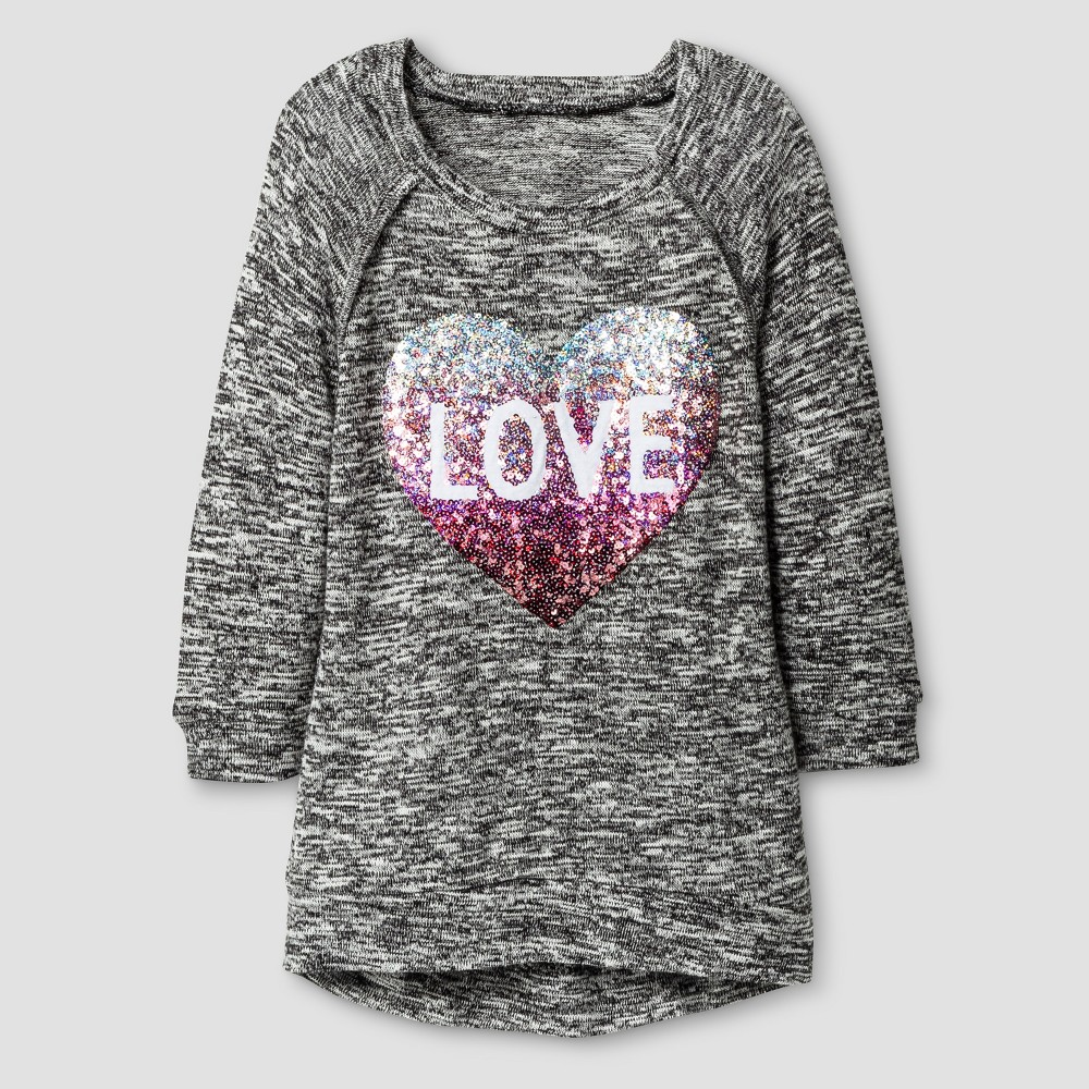 Girls Miss Chievous Love Heart Sequined Tunic - Black - M