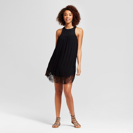 Women's Lace Trim Dress - Grayson Threads (Juniors') Black : Target