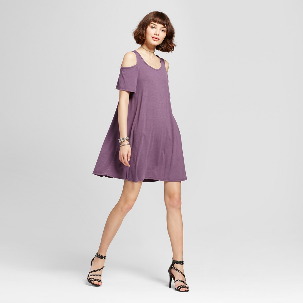 Womens Cold Shoulder T-Shirt Dress - Grayson Threads (Juniors) Purple M