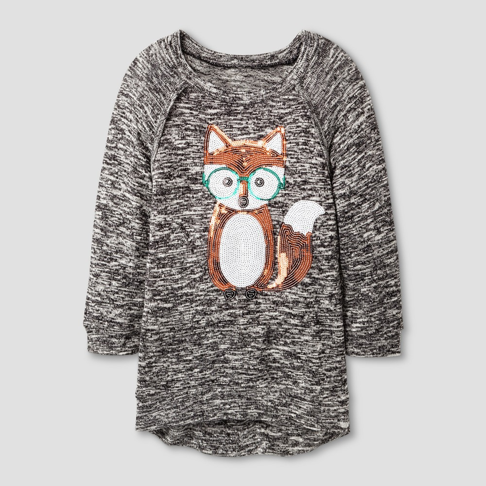 Girls Miss Chievous Nerdy Fox Sequined Tunic - Black - L