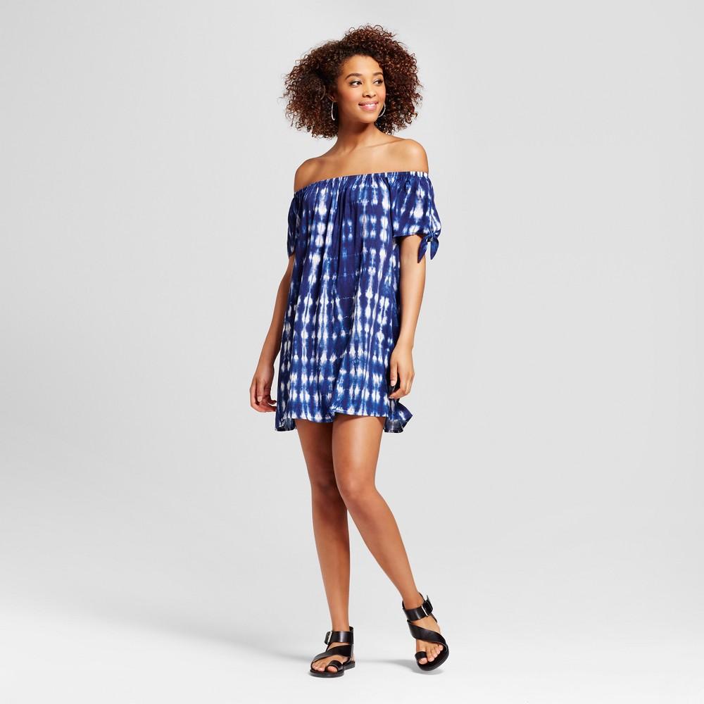 Womens Tie Dye Off the Shoulder Shift Dress - Grayson Threads (Juniors) Blue XL