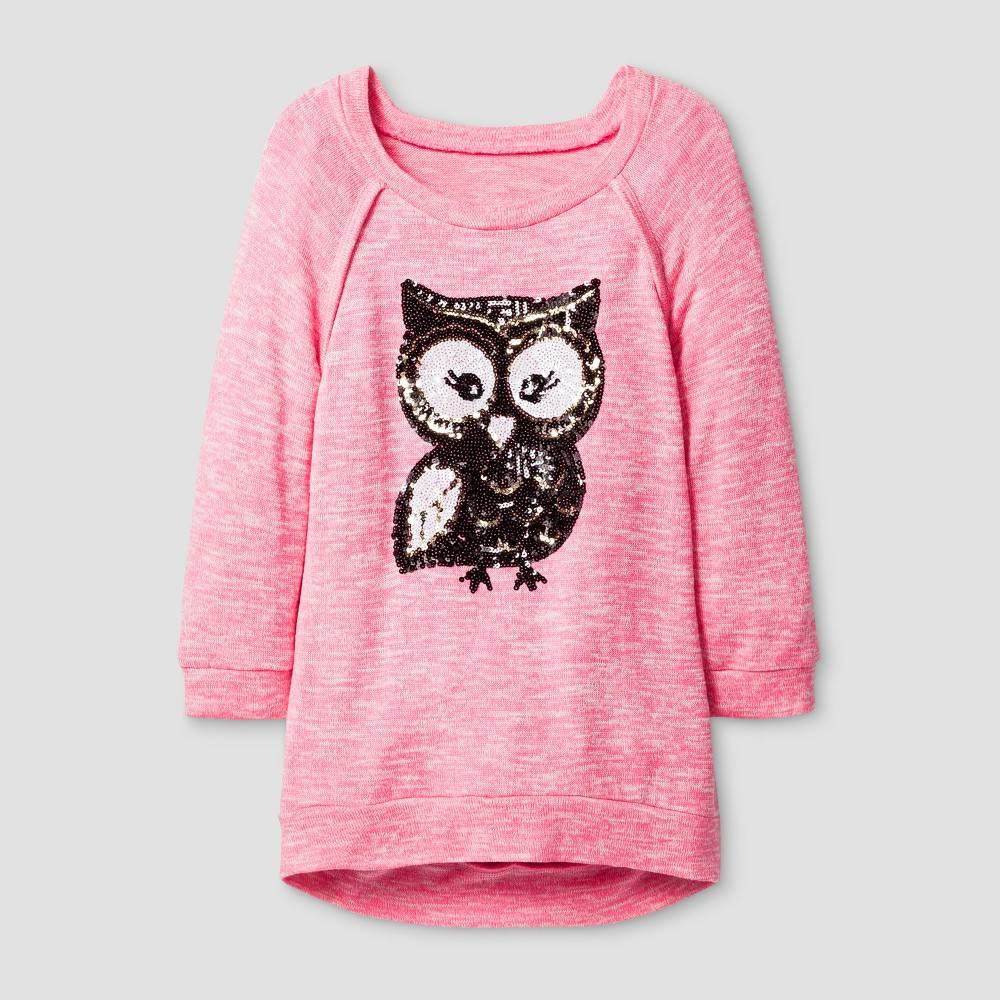 Girls Miss Chievous Tunic with Cute Sequin Owl - Pink - XL