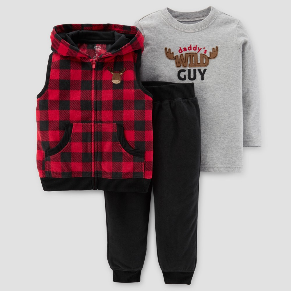 Toddler Boys 3pc Fleece Buffalo Check Hooded Vest Set - Just One You Made by Carters Red 3T