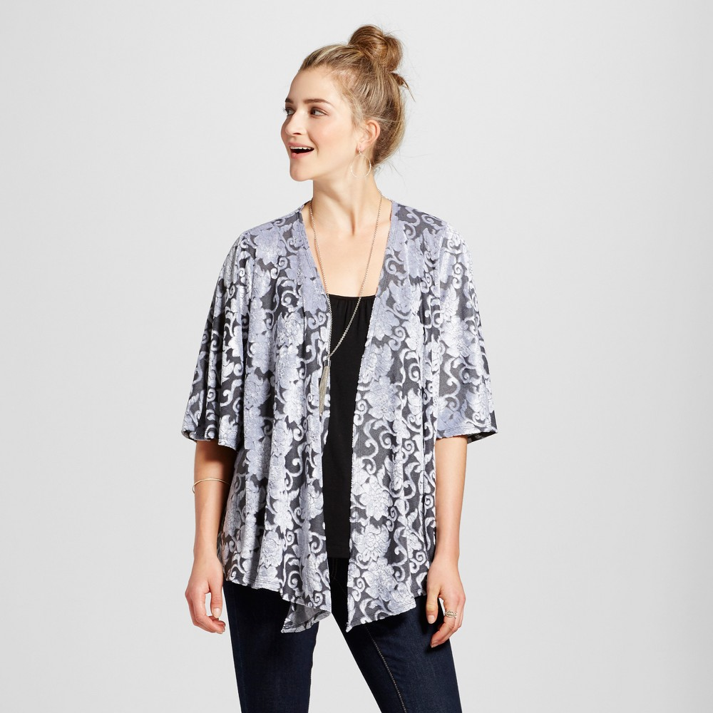 Womens Velvet Floral Drape Front Jacket - Knox Rose Gray XL
