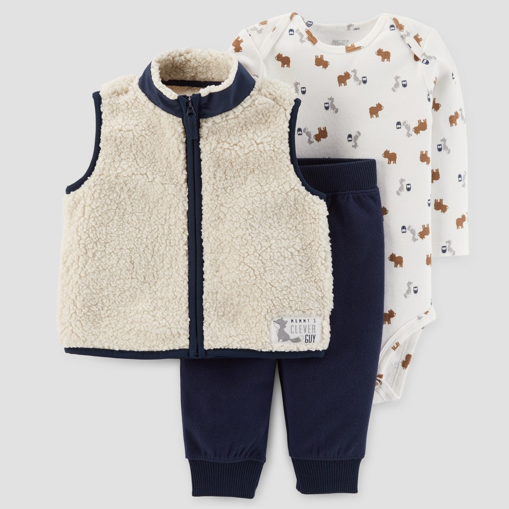 Baby Boys 3pc Sherpa Vest Set - Just One You Made by Carters Khaki/Navy 9M, Beige