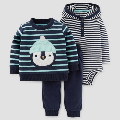 Baby Boys' 3pc Fleece Penguin Set - Just One You™ Made by Carter's® Navy/Green Stripe 18M