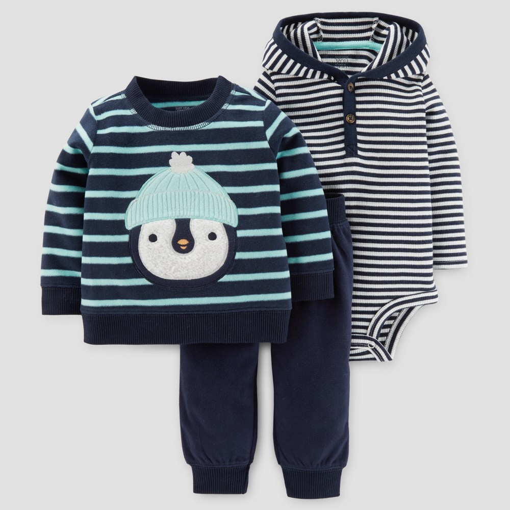 Baby Boys 3pc Fleece Penguin Set - Just One You Made by Carters Navy/Green Stripe 18M, Blue
