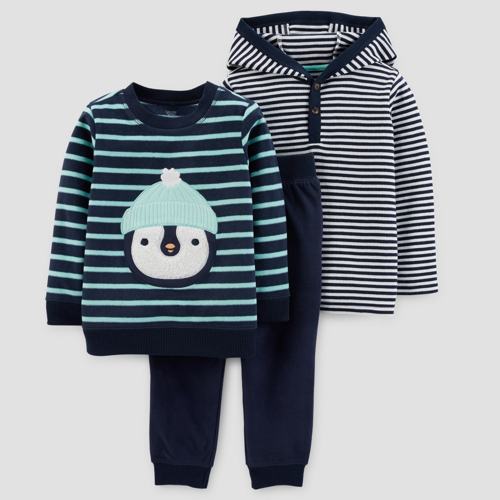 Toddler Boys 3pc Fleece Penguin Set - Just One You Made by Carters Navy/Green Stripe 5T, Blue