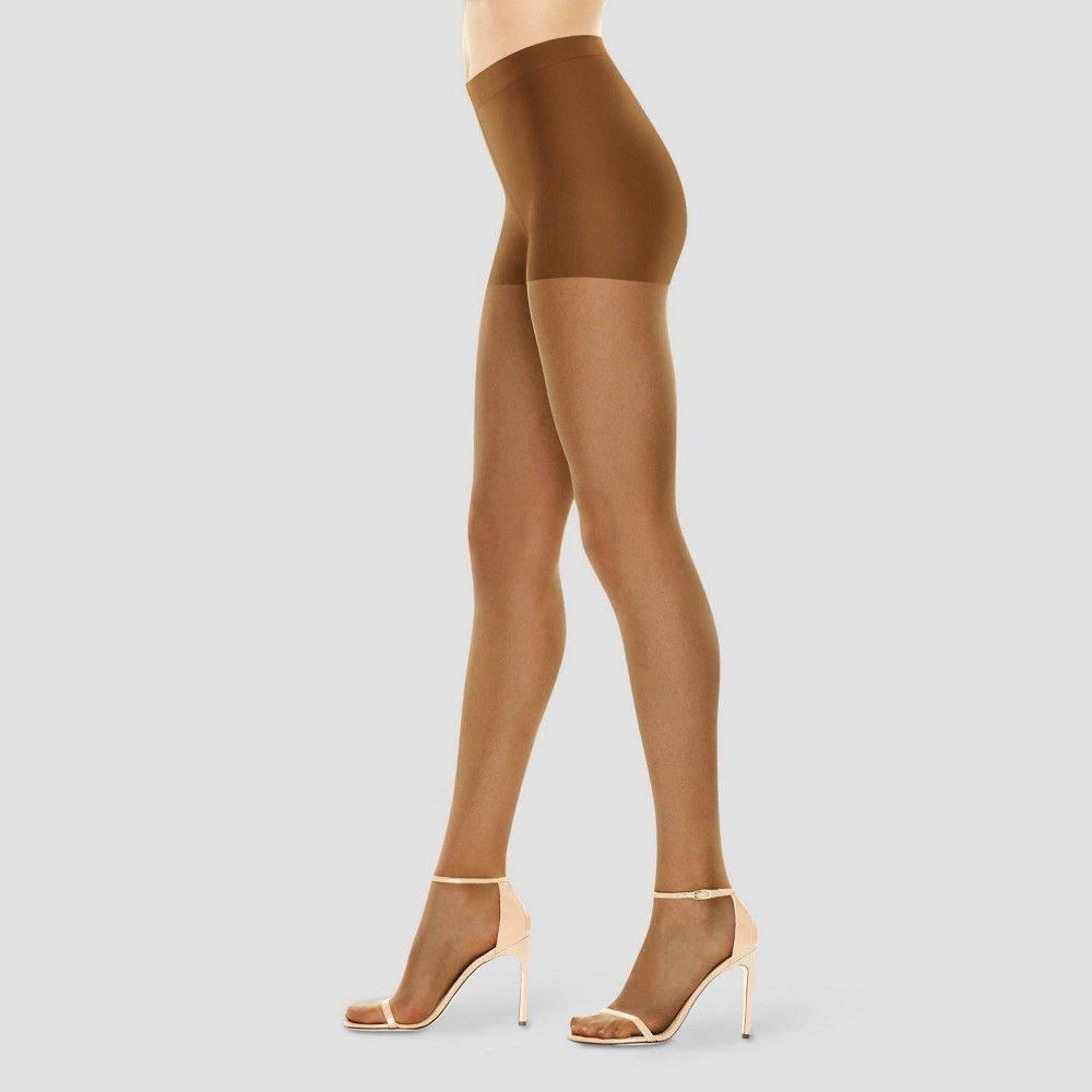 Hanes Premium Womens Perfect Nudes Control Top Silky Ultra Sheer Pantyhose - Tan L
