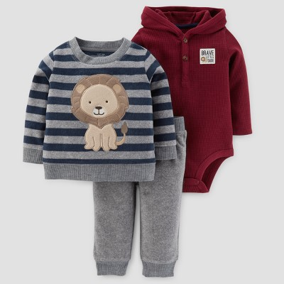 Baby Boys' 3pc Fleece Stripe Lion Set - Just One You™ Made by Carter's® Gray 9M