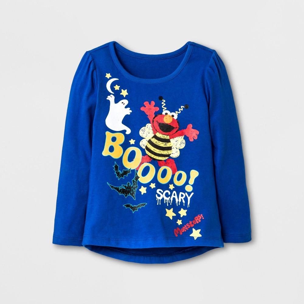 Toddler Girls Elmo Glow In The Dark Long Sleeve Halloween T-Shirt - Sesame Street Purple 5T, Blue