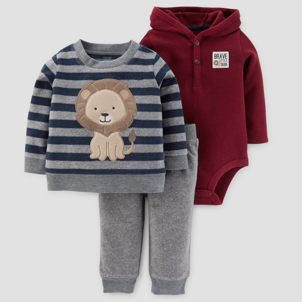 Baby Boys 3pc Fleece Stripe Lion Set - Just One You Made by Carters Gray 24M