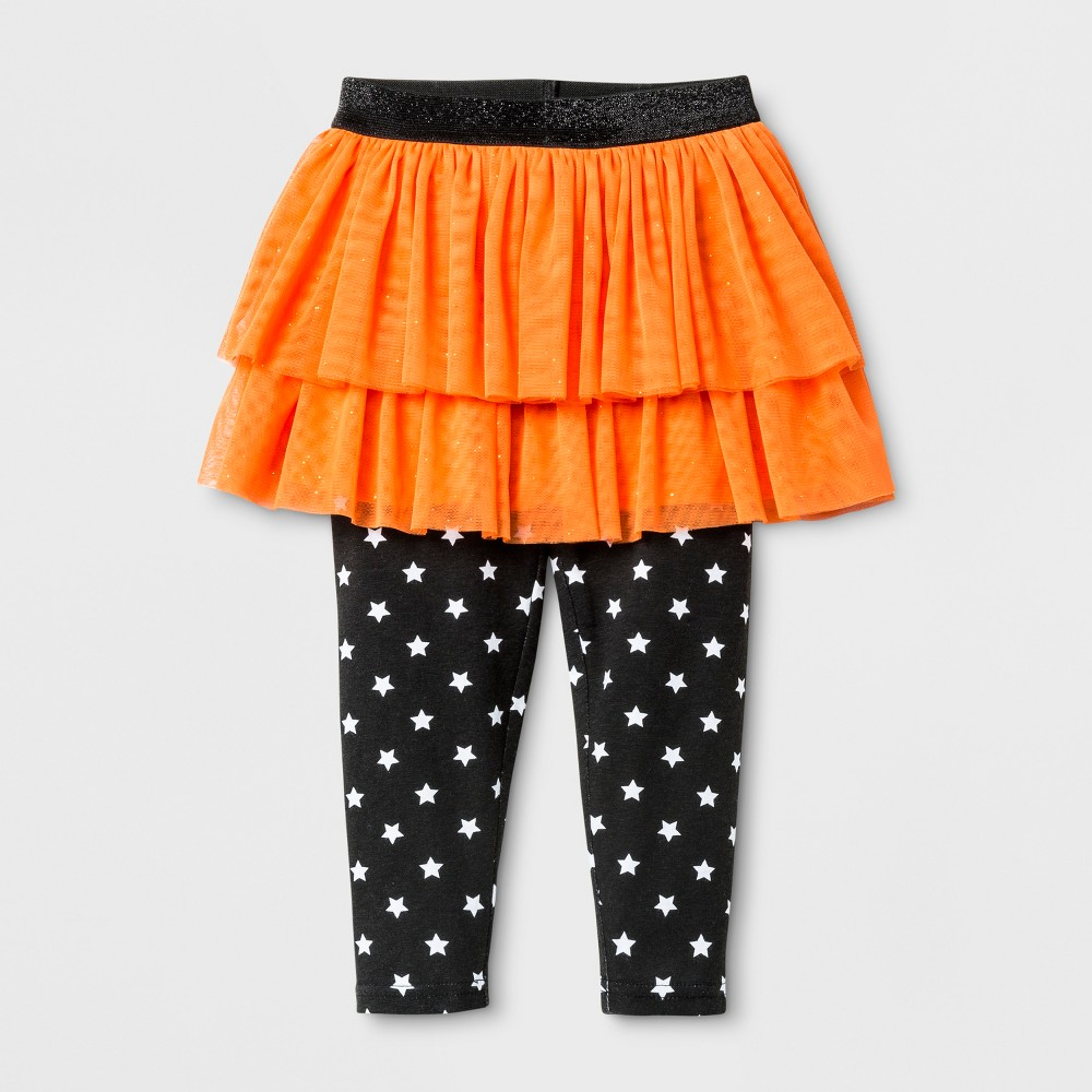Young Hearts Toddler Girls Halloween Skeggings - Orange 3T