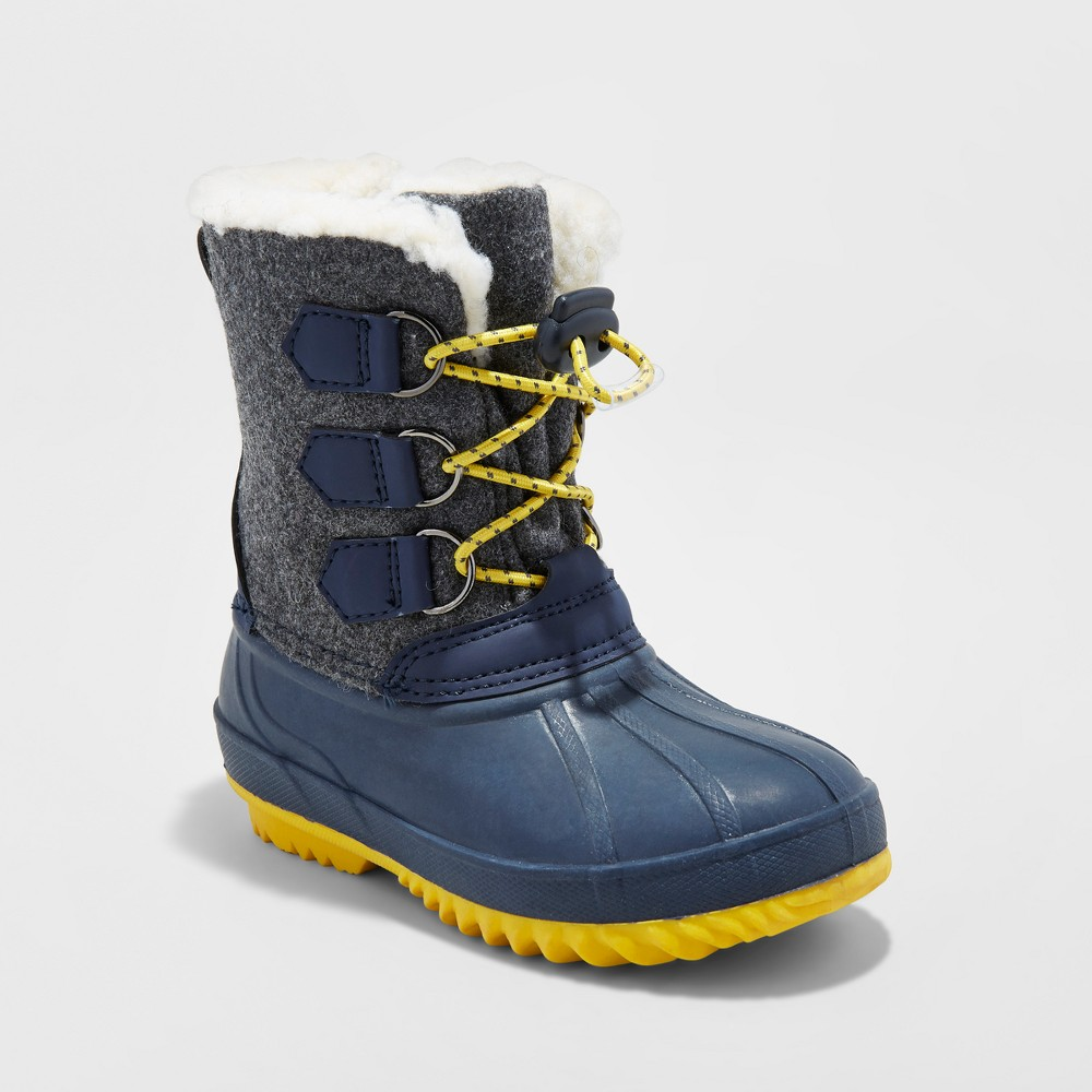 Toddler Boys Malcom Flannel Winter Boots - Cat & Jack Navy 9-10, Size: L(9-10), Blue