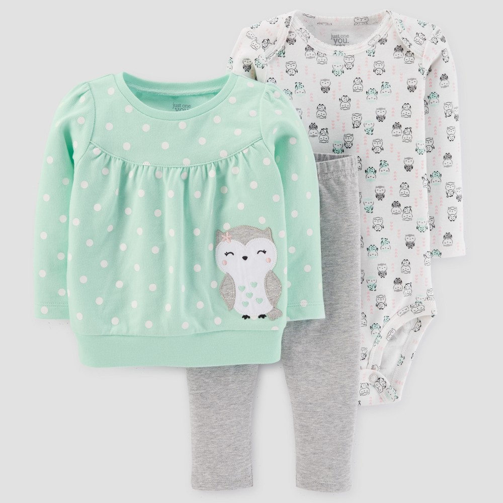 Baby Girls 3pc Cotton Owl Dot Set - Just One You Made by Carters Light Green 18M
