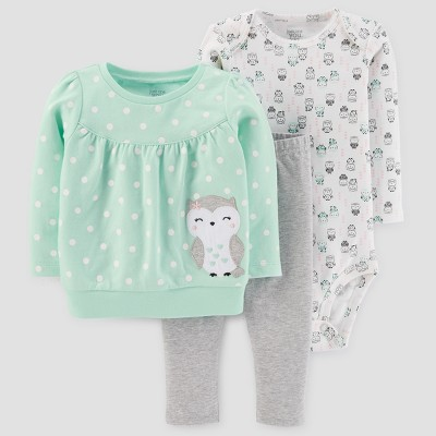 Baby Girls' 3pc Cotton Owl Dot Set - Just One You™ Made by Carter's® Light Green 24M