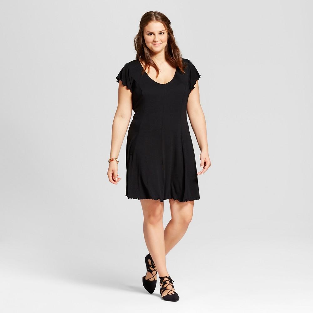Womens Plus Size Lettuce Edge T-Shirt Dress - Xhilaration Black 1X