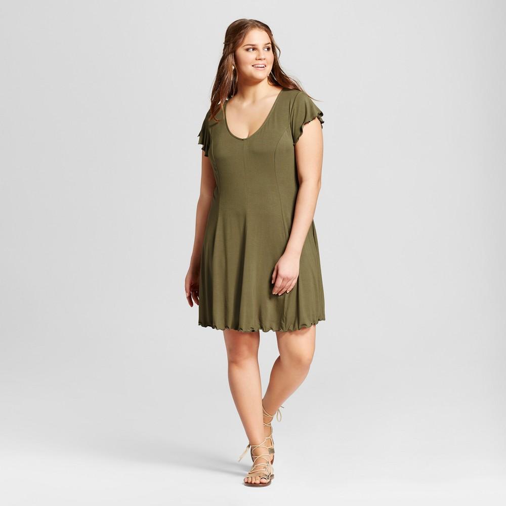 Womens Plus Size Lettuce Edge T-Shirt Dress - Xhilaration Green 3X
