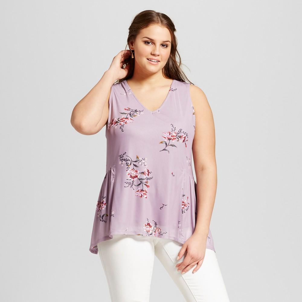 Womens Plus Size Floral Printed Mesh Tank - Xhilaration Mauve (Pink) 4X