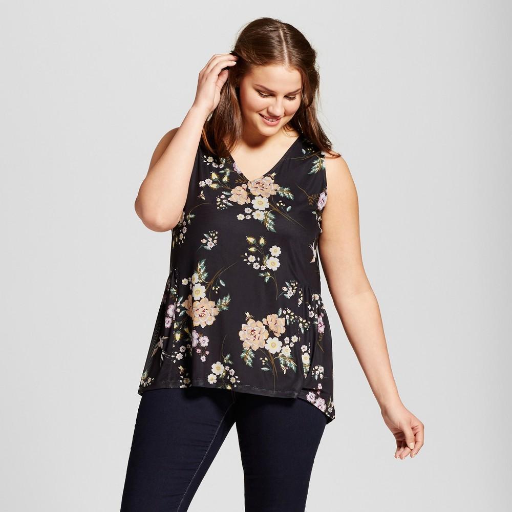 Womens Plus Size Floral Printed Mesh Tank - Xhilaration Black X, Size: 1XL