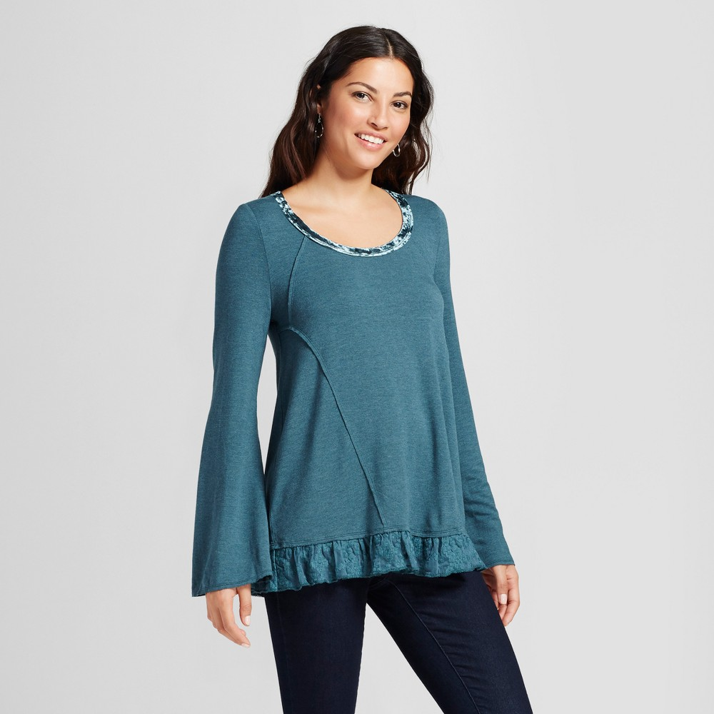Womens Lace Twofer Top with Velvet Trim - Knox Rose Slate Blue L, Gray