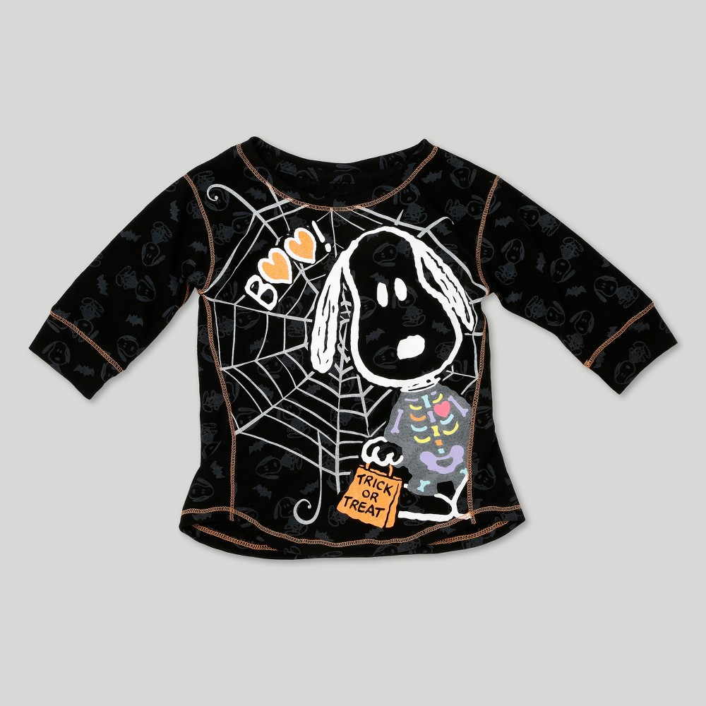 Toddler Girls Snoopy 3/4 Sleeve Halloween T-Shirt - Peanuts Black 5T