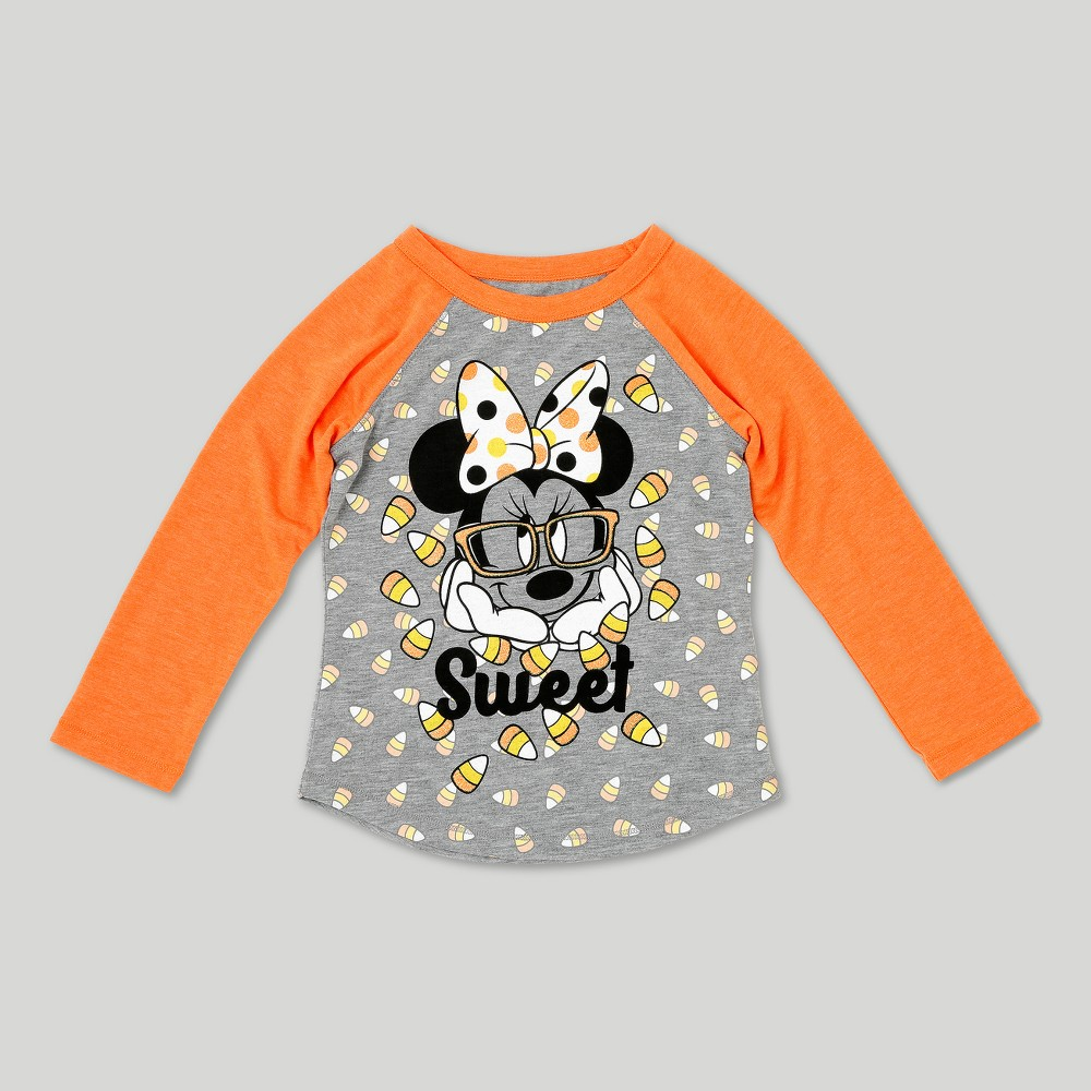 Toddler Girls Minnie Mouse Long Sleeve Halloween T-Shirt - Disney Orange 12M, Size: 12 M
