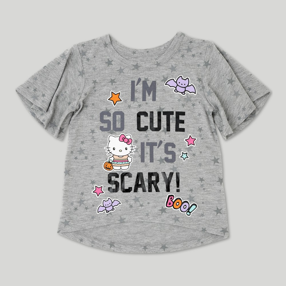 Toddler Girls Hello Kitty Short Sleeve Halloween T-Shirt - Heather Gray 12M, Size: 12 M