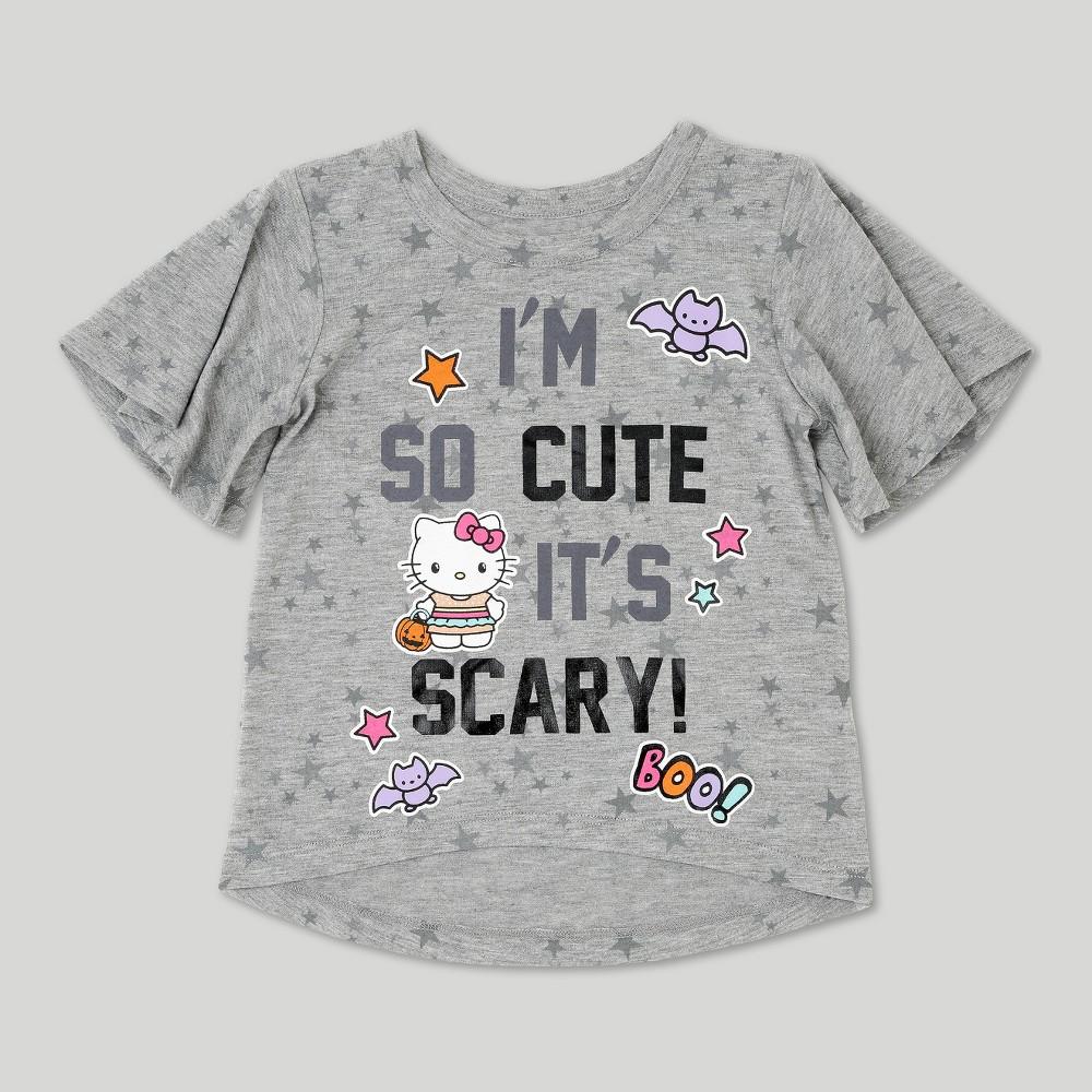 Toddler Girls Hello Kitty Short Sleeve Halloween T-Shirt - Heather Gray 3T