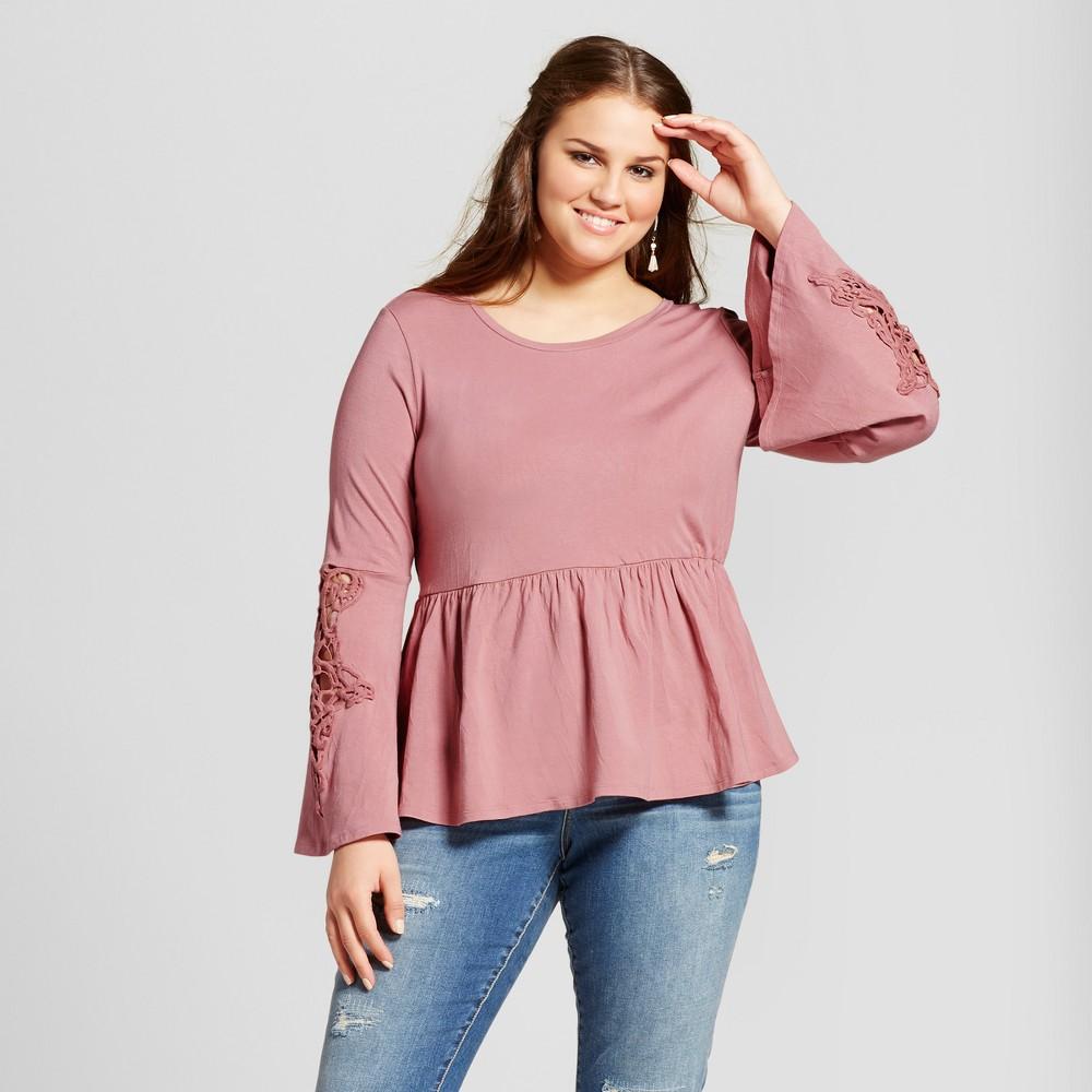 Womens Plus Size Crochet Sleeve Knit Top - Xhilaration Mauve (Pink) 2X