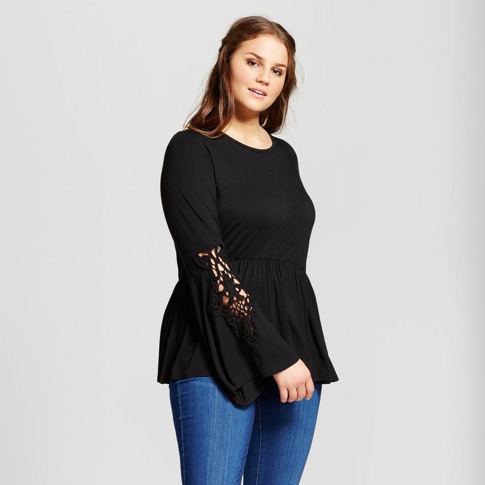 Womens Plus Size Crochet Sleeve Knit Top - Xhilaration Black 1X
