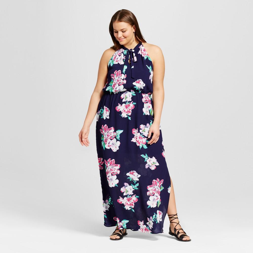 Womens Plus Size Floral Print High Neck Maxi Dress Navy 2X - Le Kate (Juniors), Blue