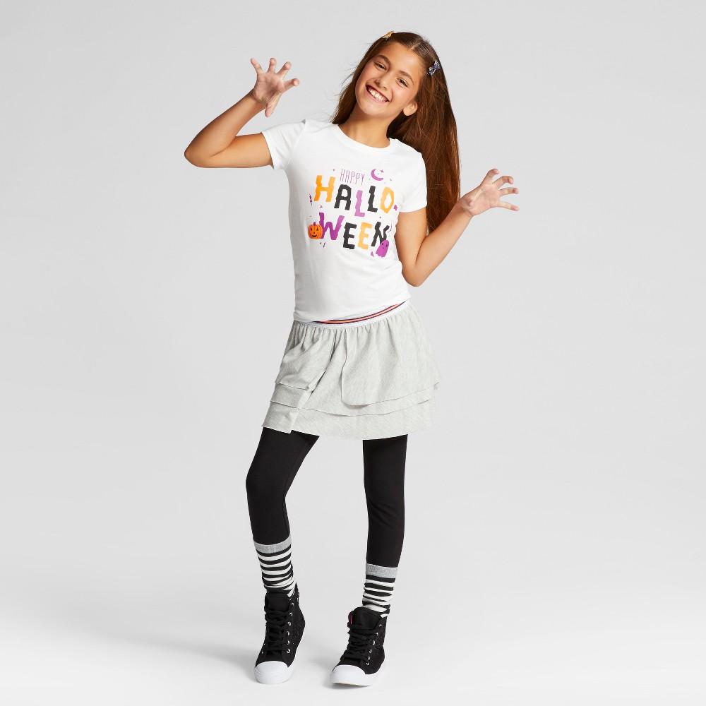 Girls Short Sleeve Happy Halloween T-Shirt - Cat & Jack White XS