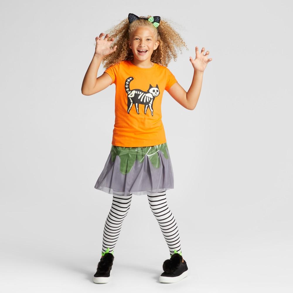 Girls Short Sleeve Cat Halloween T-Shirt - Cat & Jack Orange L
