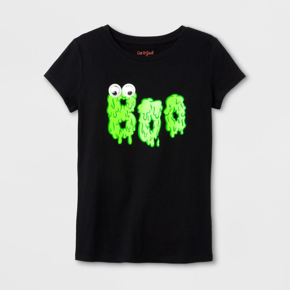 Girls Short Sleeve Boo Halloween T-Shirt - Cat & Jack Black L