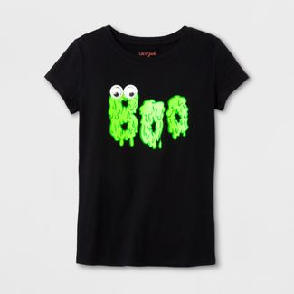 girls short sleeve boo halloween t shirt cat jack black - Halloween Shirts For Ladies