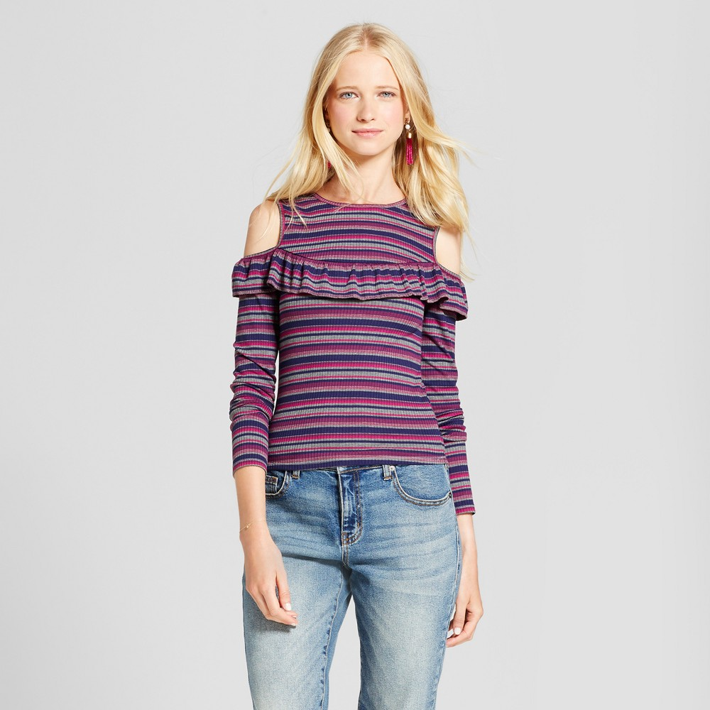 Womens Knit Cold Shoulder Stripe - Mossimo Supply Co. XL, Multicolored