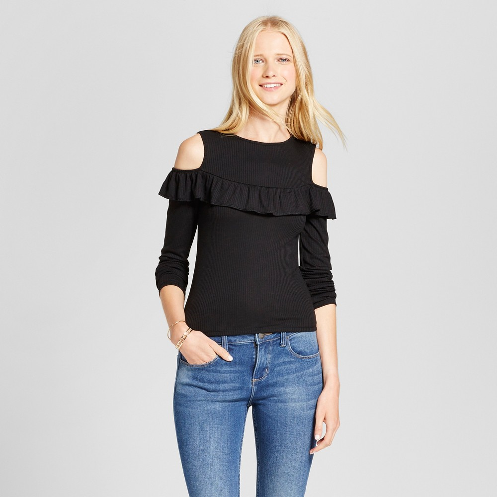 Womens Knit Cold Shoulder Long Sleeve T-Shirt - Mossimo Supply Co. Black S