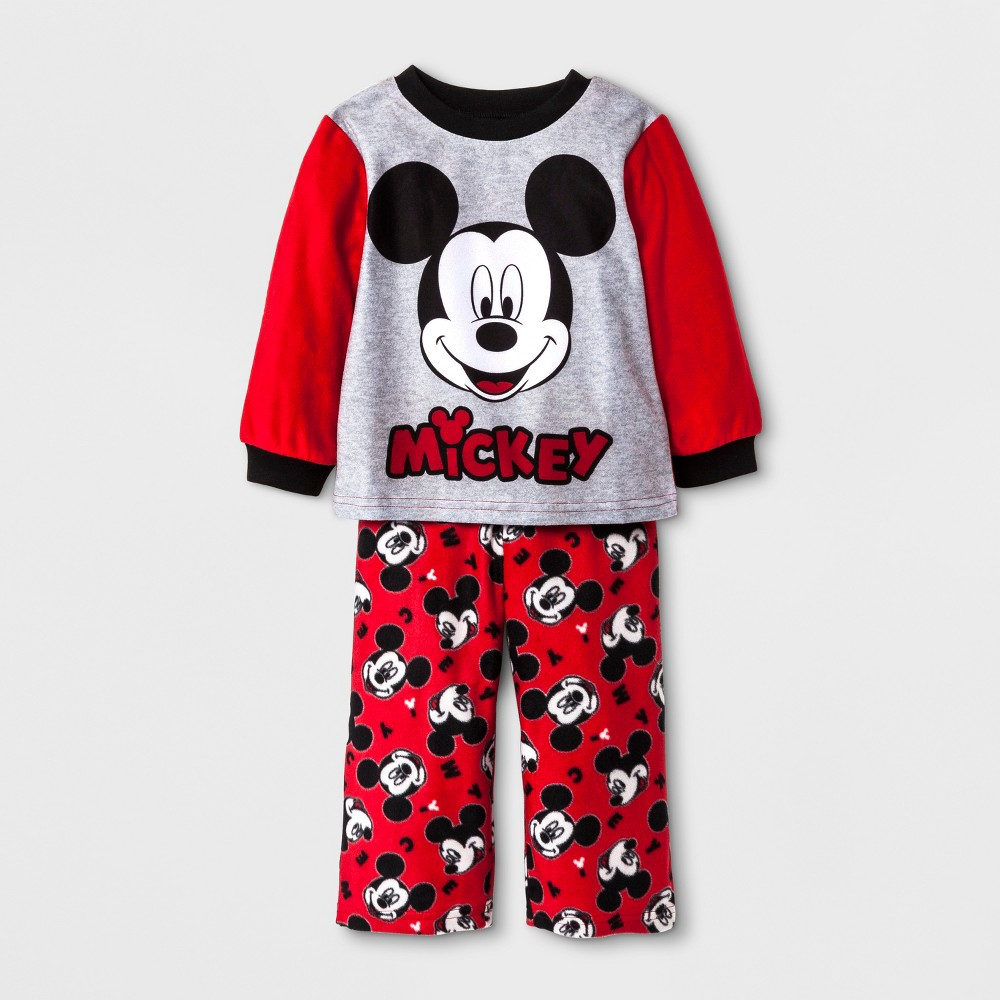 Toddler Boys Mickey Mouse 2pc Fleece Pajama Set - Red 3T